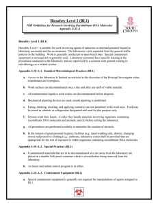 Biosafety Level 1 (BL1) Appendix G-II-A