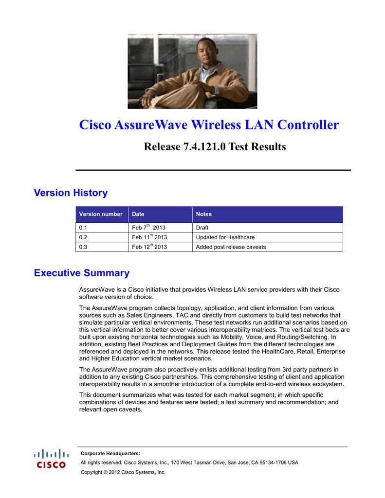 Cisco AssureWave Wireless LAN Controller Release 7 4 121 0 Test
