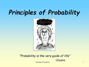 "Principles of Probability ""Probability is the very guide of life"" -Cicero 1"