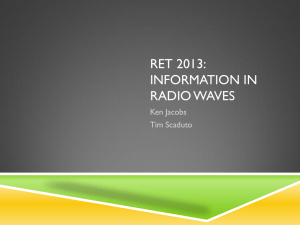 RET 2013: INFORMATION IN RADIO WAVES Ken Jacobs