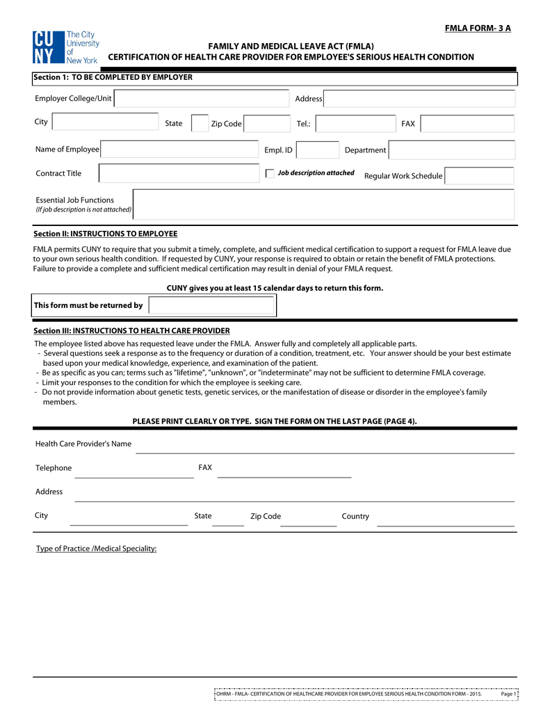 Fmla Form 3 A Family And Medical Leave Act Fmla