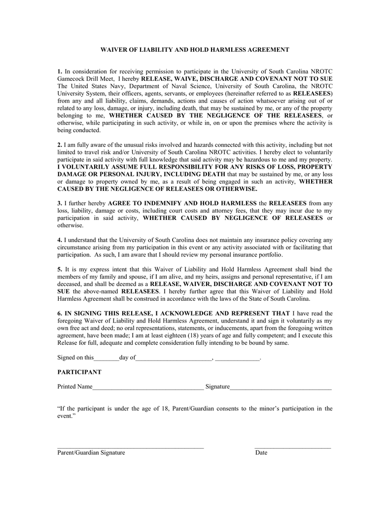 Waiver Of Liability And Hold Harmless Agreement 1