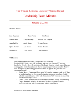 Leadership Team Minutes The Western Kentucky University Writing Project January 27, 2007