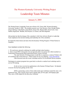 Leadership Team Minutes The Western Kentucky University Writing Project January 8, 2005