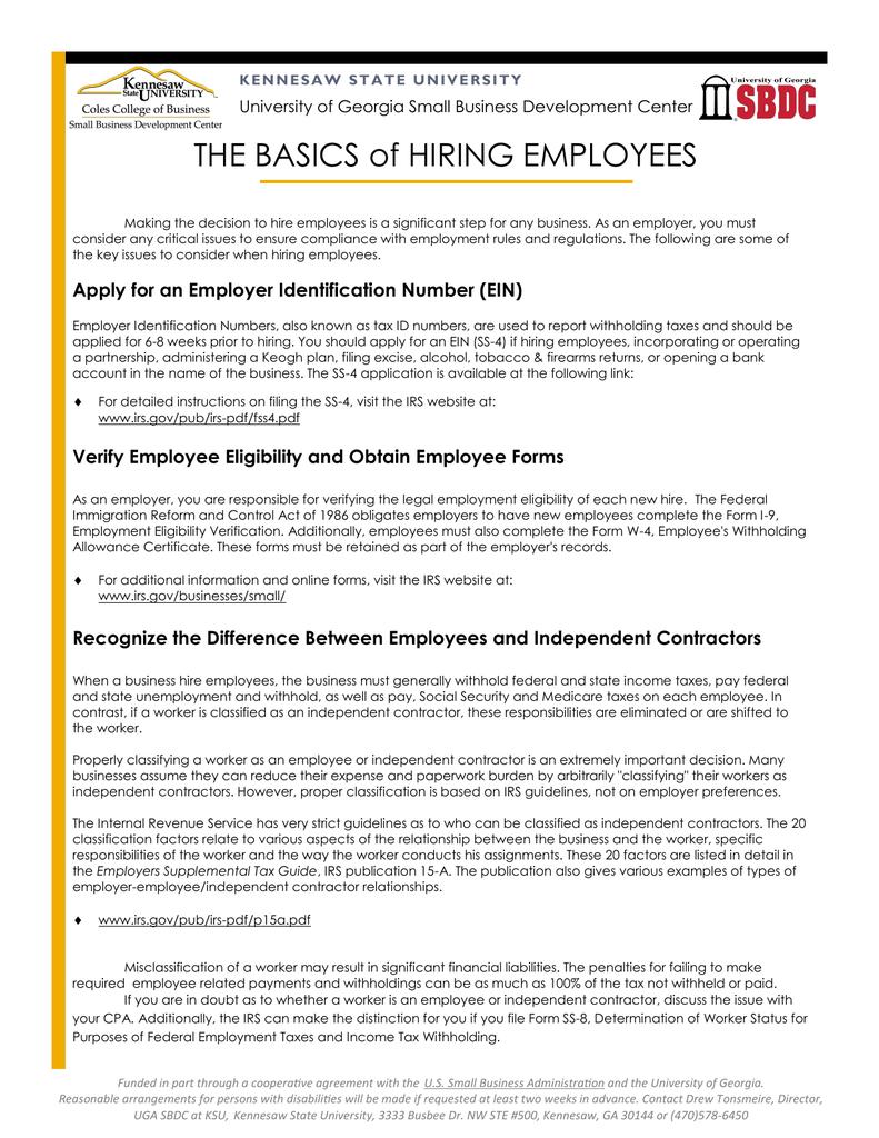 THE BASICS of HIRING EMPLOYEES