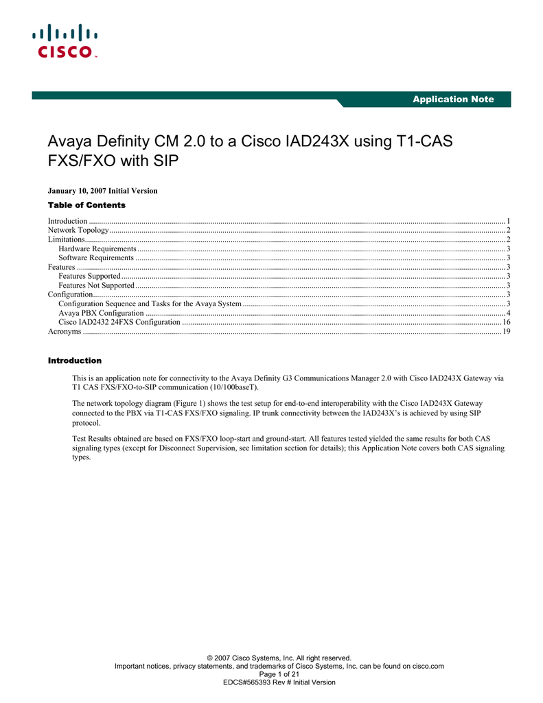 Avaya Definity CM 2 0 to a Cisco IAD243X using T1-CAS