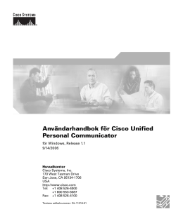Användarhandbok för Cisco Unified Personal Communicator  för Windows, Release 1.1