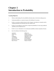 Chapter 2 Introduction to Probability  Learning Objectives