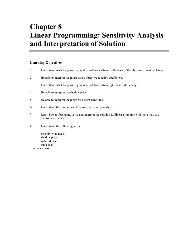 Chapter 8 Linear Programming: Sensitivity Analysis and