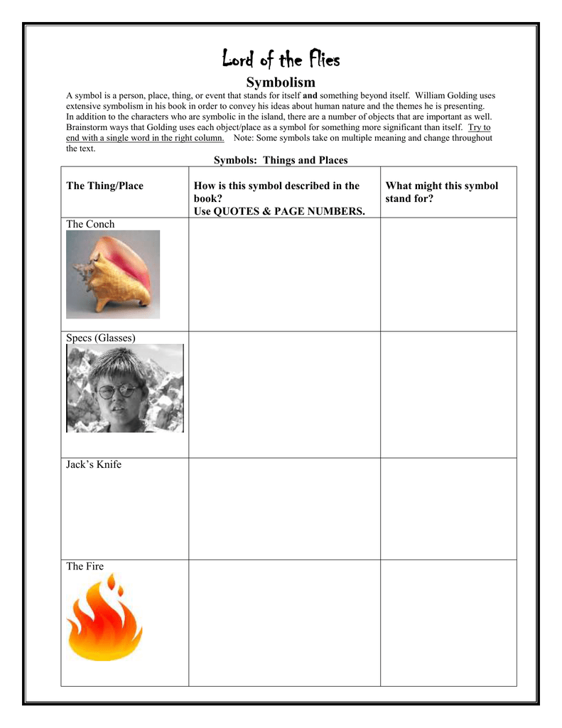 lord of the flies symbolism project essay