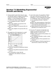Section 7.5 Modelling Exponential Growth and Decay