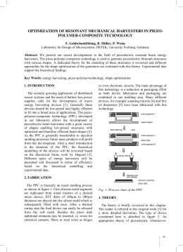 OPTIMIZATION OF RESONANT MECHANICAL HARVESTERS IN PIEZO- POLYMER-COMPOSITE TECHNOLOGY