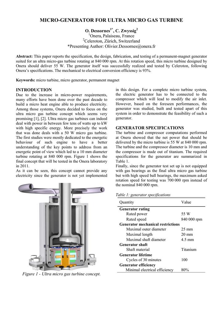 MICRO-GENERATOR FOR ULTRA MICRO GAS TURBINE Onera, Palaiseau