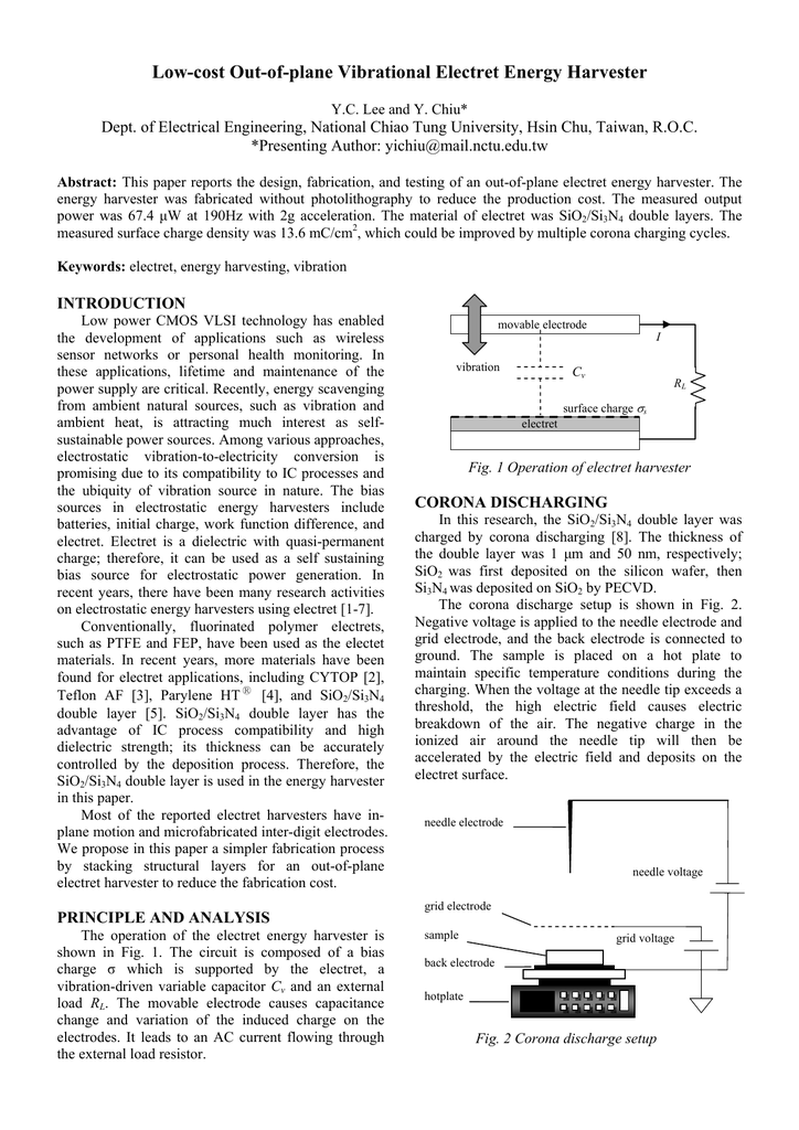 Low-cost Out-of-plane Vibrational Electret Energy Harvester