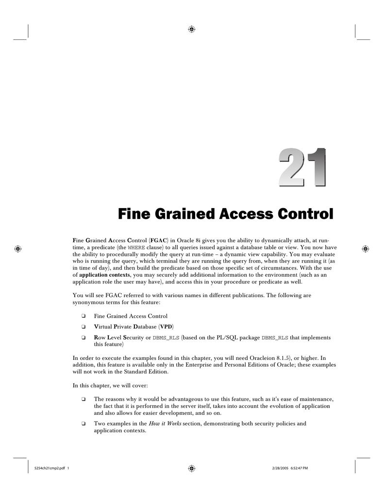 Fine Grained Access Control