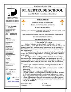 ST. GERTRUDE SCHOOL Guided by Faith, Committed to Excellence NEWSLETTER
