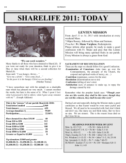 SHARELIFE 2011: TODAY  LENTEN MISSION