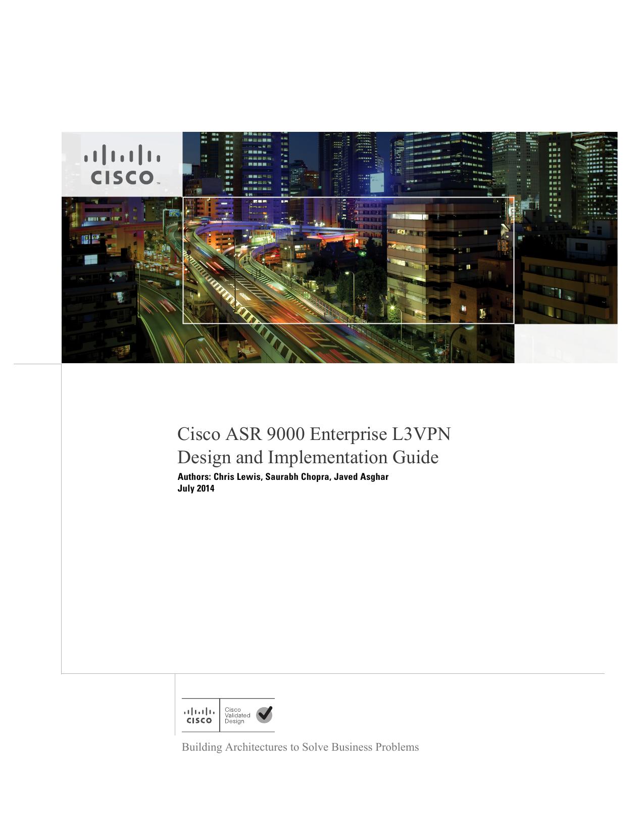 Cisco ASR 9000 Enterprise L3VPN Design and Implementation Guide