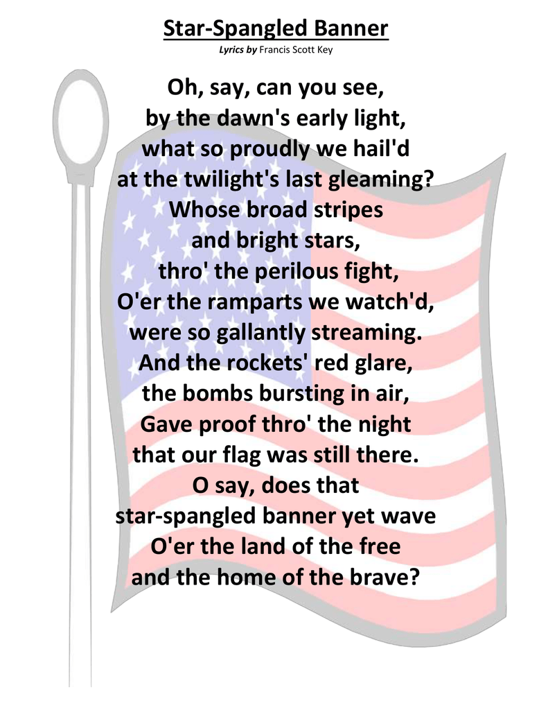 It is a photo of Accomplished Star Spangled Banner Lyrics Printable
