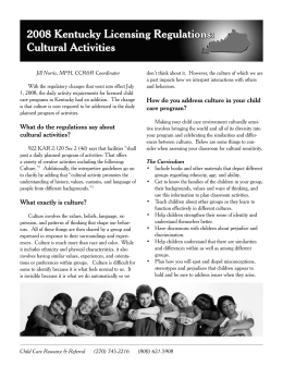 2008 Kentucky licensing Regulations: Cultural activities