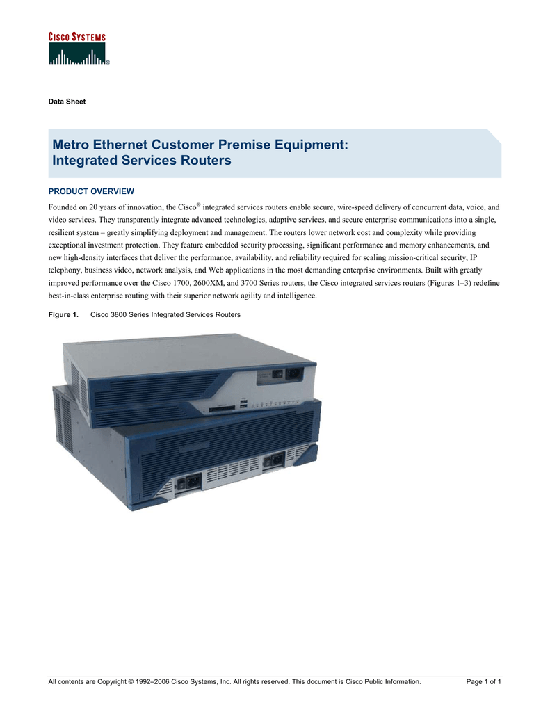 Metro Ethernet Customer Premise Equipment: Integrated