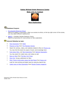 Father Michael Goetz Resource Center Web Links by Subject  Mars Exploration