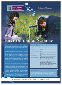 BSc in Environmental Science College of Science