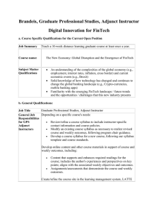 Brandeis, Graduate Professional Studies, Adjunct Instructor Digital Innovation for FinTech