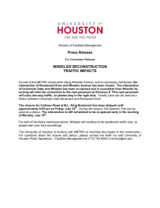 Press Release WHEELER RECONSTRUCTION TRAFFIC IMPACTS