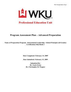 Professional Education Unit Program Assessment Plan – Advanced Preparation