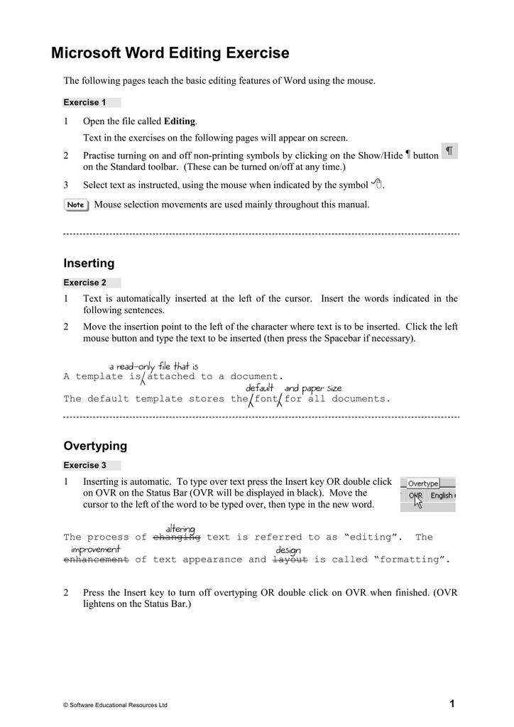 microsoft word editing exercise