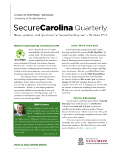 Quarterly News, updates, and tips from the SecureCarolina team - October... Division of Information Technology