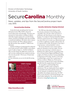 Monthly News, updates, and tips from the SecureCarolina project team July 2015