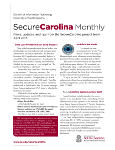 Monthly News, updates, and tips from the SecureCarolina project team April 2015