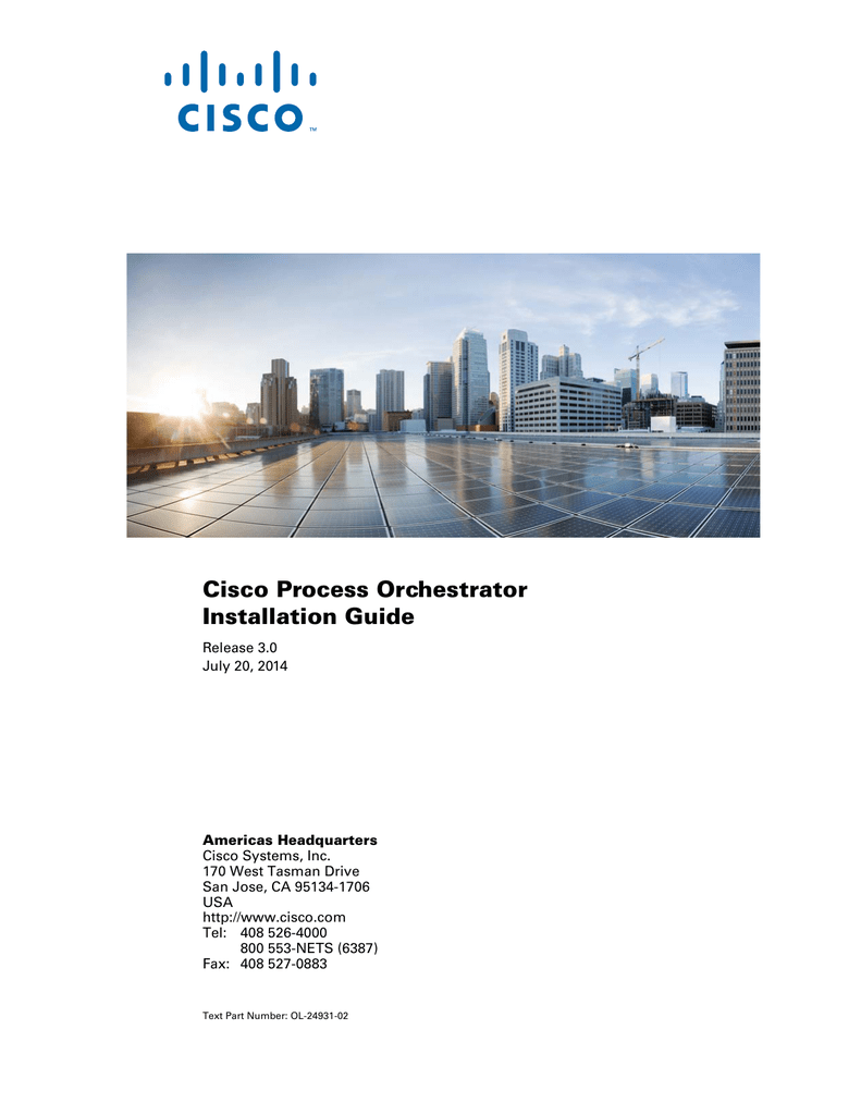 Cisco Process Orchestrator Installation Guide