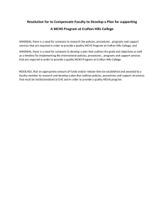 Resolution for to Compensate Faculty to Develop a Plan for... A MCHS Program at Crafton Hills College