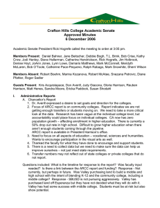 Crafton Hills College Academic Senate Approved Minutes 6 December 2006
