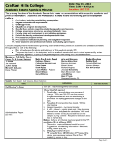 Crafton Hills College Academic Senate Agenda & Minutes Date: May 15, 2013