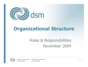 Organizational Structure Roles & Responsibilities November 2004