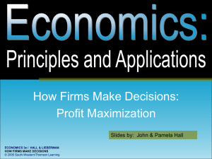 How Firms Make Decisions: Profit Maximization