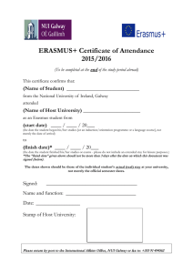 ERASMUS+ Certificate of Attendance 2015/2016  (Name of Student)