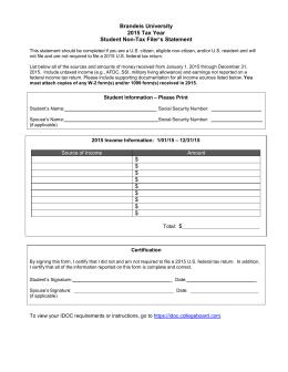 2014 Tax Year Parent Non-Tax Filer's Statement