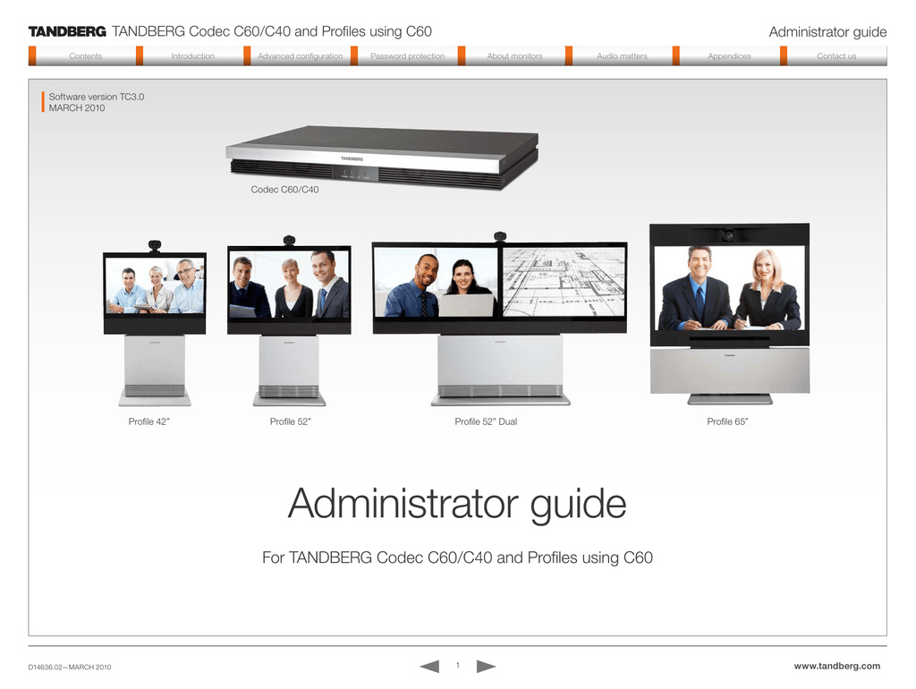 tandberg codec c60 c40 and profiles using c60 administrator guide rh studylib net