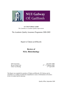 Review of  M.Sc. Biotechnology The Academic Quality Assurance Programme 2008­2009