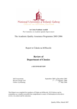 Review of Department of Classics The Academic Quality Assurance Programme 2005-2006