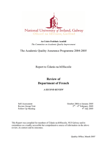 Review of Department of French The Academic Quality Assurance Programme 2004-2005