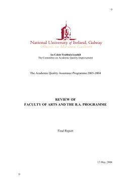 REVIEW OF FACULTY OF ARTS AND THE B.A. PROGRAMME