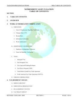 NONRESIDENT ALIEN TAXATION TABLE OF CONTENTS TAXATION/RECONCILIATIONS