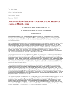 Presidential Proclamation -- National Native American Heritage Month, 2011