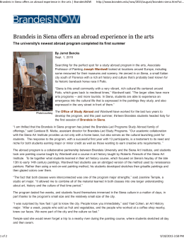 Brandeis in Siena offers an abroad experience in the arts | BrandeisNOW h p://www.brandeis.edu/now/2015/august/brandeis‐siena.html?ut...